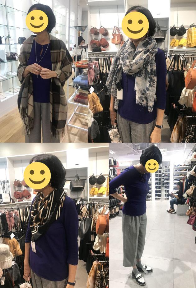 スカーフ、ストールコーデ